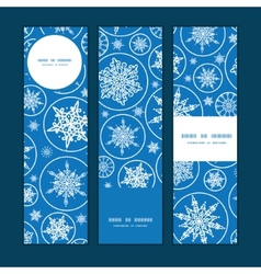 Falling snowflakes vertical banners set pattern vector