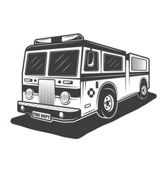 Fire truck monochrome style vector