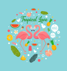 Flamingo couple in summer tropical love vector