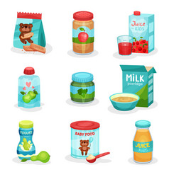 flat set of food and drinks for babies vector image