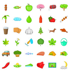 forest camping icons set cartoon style vector image