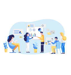 Friendly team work colleagues large remote office vector