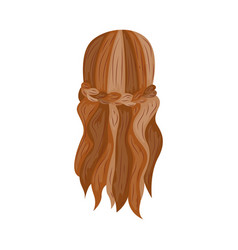Hair braid with curls fashion hairstyle in vector
