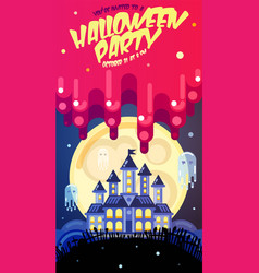 Halloween poster with castle ghosts full moon vector