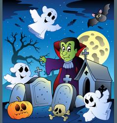 halloween scenery with cemetery 3 vector image