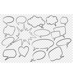 hand drawn speech dream bubbles set vector image