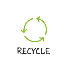 handwritten lettering of recycle vector image