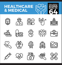 healthcare and medical pixel perfect icons base vector image