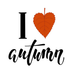 i love autumn i heart autumn hand drawn vector image