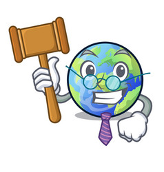 Judge earth isolated with in the cartoons vector