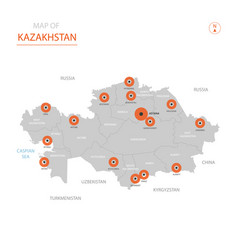 kazakhstan map with administrative divisions vector image