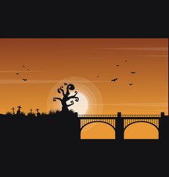 Landscape of halloween with bridge vector