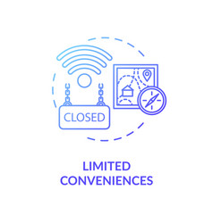 Limited conveniences blue concept icon vector