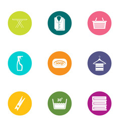 linen icons set flat style vector image
