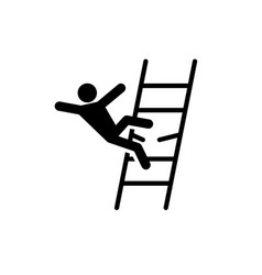Man falling from broken ladder accident icon vector