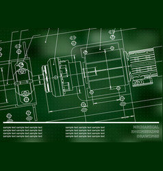 Mechanical engineering drawings on a green vector