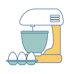 Mixer electric with eggs vector