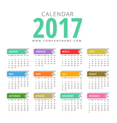 Modern 2017 calendar design template vector