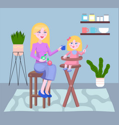mother and child play together at home developing vector image