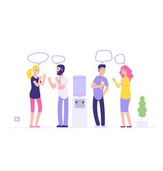 office cooler meeting men women drinking water vector image