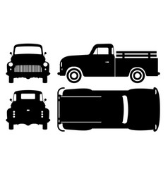 old pickup truck black icons vector image