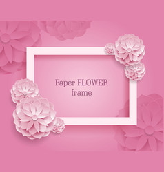 paper flower rectangular rame pink background vector image