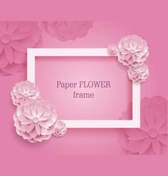 Paper flower rectangular rame pink background vector