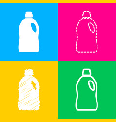 plastic bottle for cleaning four styles of icon vector image
