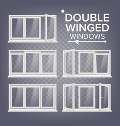 Plastic window double-winged white pvc vector