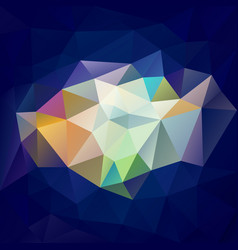 Polygonal square background royal blue rainbow vector