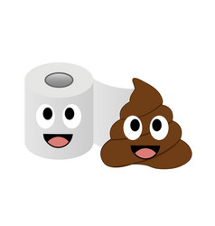 Poop and toilet tissue in love vector