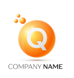 q letter splash orange dots and circle bubble vector image