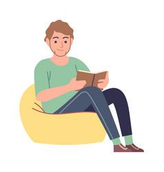 reader man reading literature sitting on yellow vector image