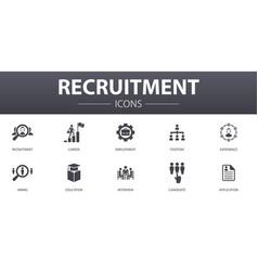 Recruitment simple concept icons set contains vector