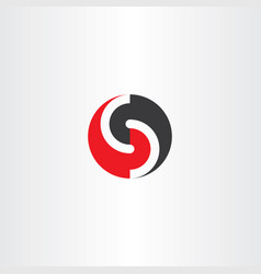 s letter red black logo circle icon vector image