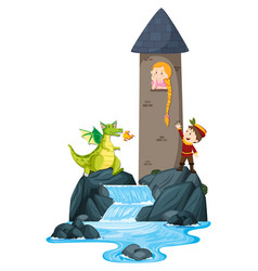 scene with prince saving princess in tower vector image