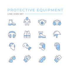 Set color line icons protecting equipment vector