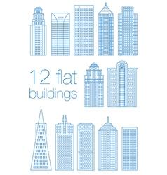 Set flat building city vector