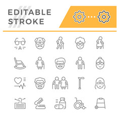 set line icons older people vector image