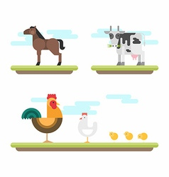 Set of Cute Flat Style Farm Animals Horse Cow vector