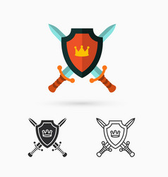 Shield and swords vector