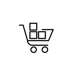 shopping trolley with boxes icon vector image