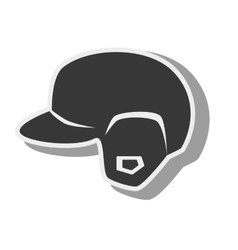 Silhouette helmet red baseball isolated vector