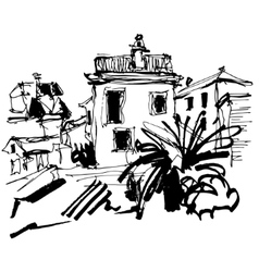 sketch drawing of historical building with palm in vector image