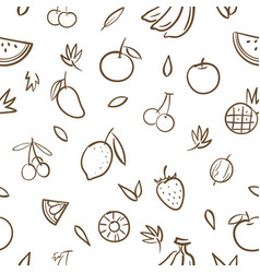 sketch mix cute fruits seamless pattern vector image