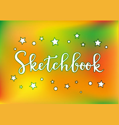 Sketchbook in white with yellow orange background vector