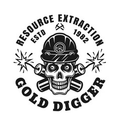 Skull gold miner and crossed dynamites vector