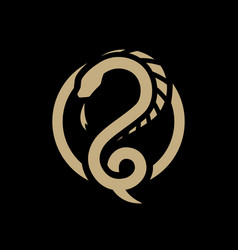 Snake dragon round logo symbol on a dark vector