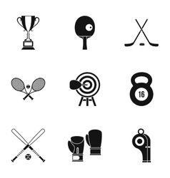 Sports equipment icons set simple style vector image