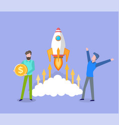 startup business men launching rocket in space vector image